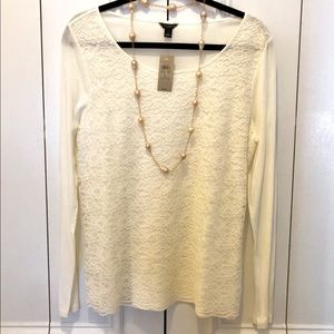 🎀 NWT ANN TAYLOR Lace TOP BLOUSE SHIRT Cream L 🎀